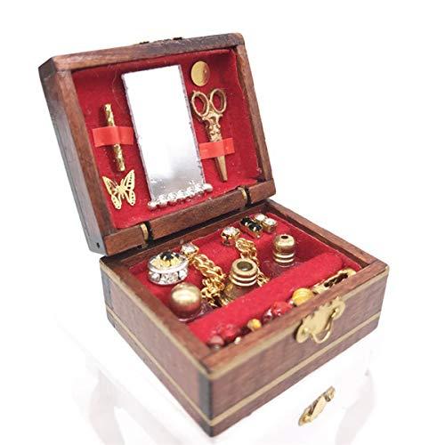 YINUODAY Puppenhaus-Zubehör, Maßstab 1:12, Miniaturen, Puppenhaus-Möbel für DIY Puppenhaus Wohnzimmer Mini Spielzeug Holz Schmuckkasten Schaukasten für Wohnzimmer Schlafzimmer Simuliertes Zubehör