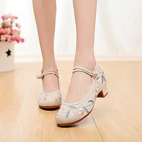 SGADSH Flores Bordadas Mujeres Denim Studded Heel Shoes Spetep Hebillas Lienzo Bombas para Damas Old Beijing Shoes Zapatos Casuales para Mujeres (Color : Model 1 Beige, Size : 37 EU)