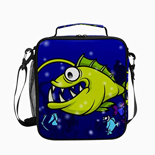 Reusable Large Lunch Bag Insulated Durable Lunch Box for Women Men Cartoon Cute Yellow Angler Fish Water Resistant Drinks Cooler Bag Tote Bag Box for Work School Picnic Hiking Beach
