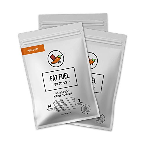 The Fat Fuel Biltong Air-Dried Beef Jerky - (3 Pack) Paleo Friendly Keto Snacks Made with Grass-Fed Beef – No Sugar, Non-GMO, Gluten-Free and Low Carb – 90 Calories and 28g of Protein/ bag Peri Peri