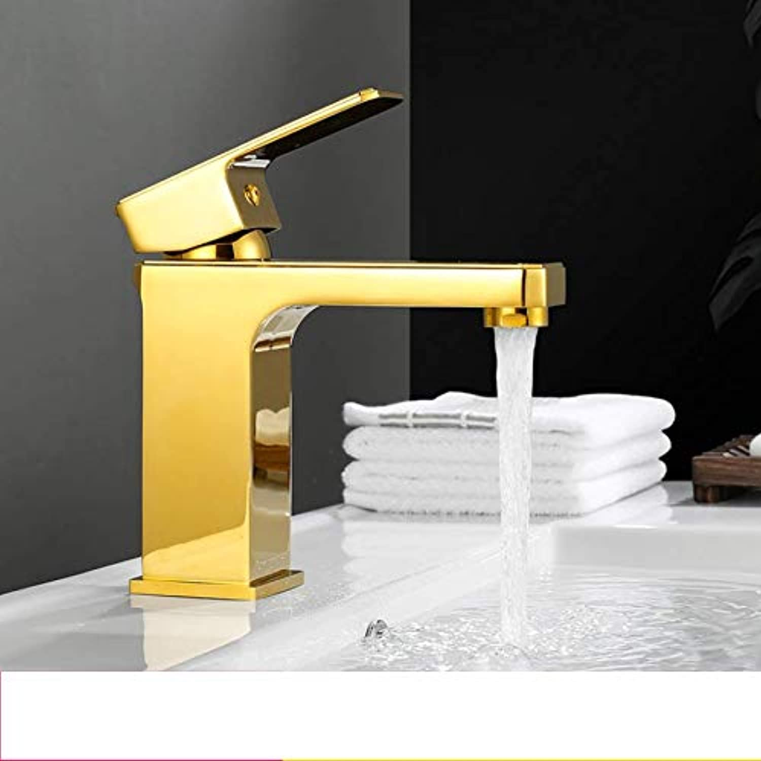 Bathroom Sink Taps Faucet gold Copper Wash Basin Faucet Single Hole Basin Hot and Cold Table Up and Down Wash Basin Square Faucet