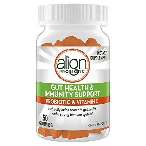 Align Gut Health & Immune Support Prebiotics and Probiotics Supplement for Digestive Health, 50 Gummies with Vitamin C, Citrus Flavor