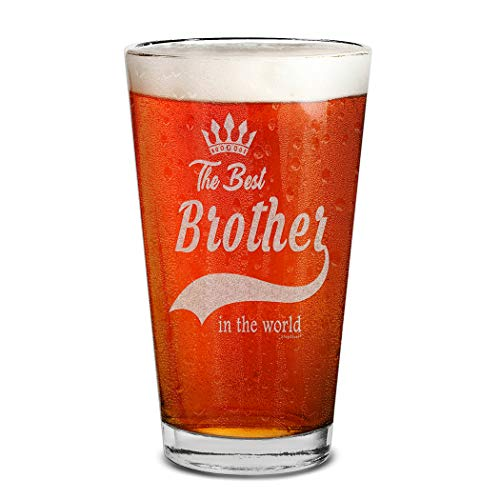 Shop4Ever The Best Brother In The World Laser Engraved Beer Pint Glass