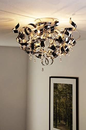 Plafondlamp Gela, moderne plafondlamp van aluminium in chroom, 3 vlammen, 3 x G9 stopcontact, max. 33 Watt, geschikt voor LED-verlichting