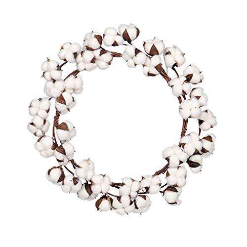 HSD Blumenkranz, Türkranz, Zierkranz, Natur, KranzSimulation Baumwollgirlande Getrocknete Blume Künstlicher Kranz für Wanddekoration