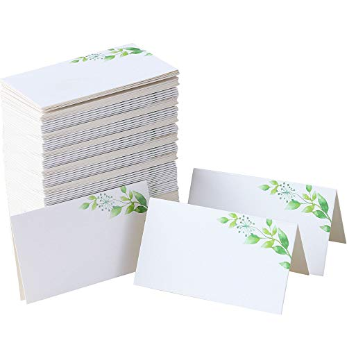 100 Table Place Cards with Greenery | Small Tent Cards - 2 x 3.5 Inches Wedding Place Cards for Dinner Parties, Name Cards for Table Setting, Buffet, Baby Shower, Bridal Shower, Party Food Label