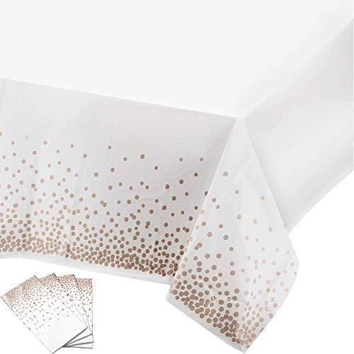 GOLRISEN 4 Stück Party Tischdecke Einweg TischdekoTischdecken aus Kunststoff Polka Dots Partytischdecken Rechteckige Plastiktischdecke für Weihnachten Hochzeit Geburtstag Picknick Bankette137x274cm