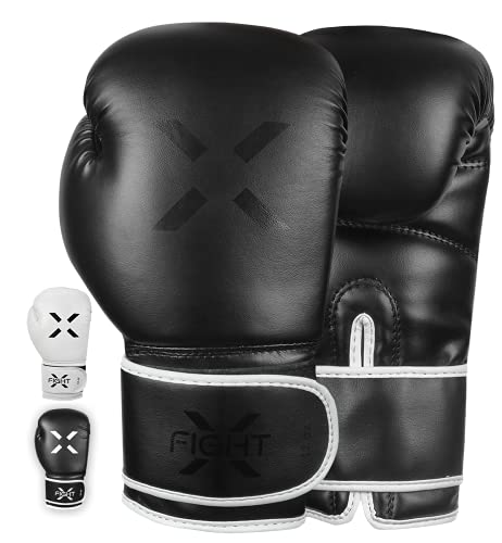 FightX Boxing Gloves MMA Heavy Bag Boxing Gloves for Adults Boxing Practice Gloves Men and Women Lightweight Boxing Gloves for Training & Kickboxing Sparring Gloves for Mens (Full Black, 16oz)