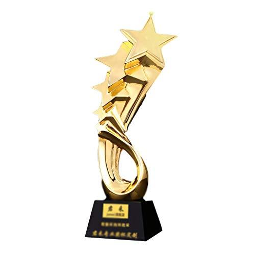 Trofeos Di Calcio In Resina Premio D'onore Annuale Cinque Stelle Decorazioni per La Casa, Regali E Vari Giochi Di Calcio (Color : Gold, Size : 29 * 8cm)