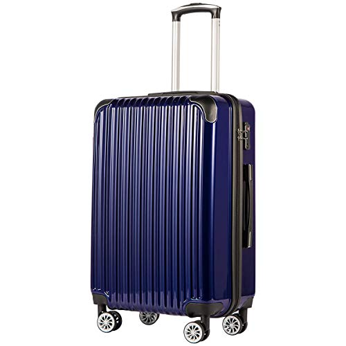 COOLIFE Luggage Expandable(only 28') Suitcase PC+ABS Spinner 20in 24in 28in Carry on (Navy New, L(28in))