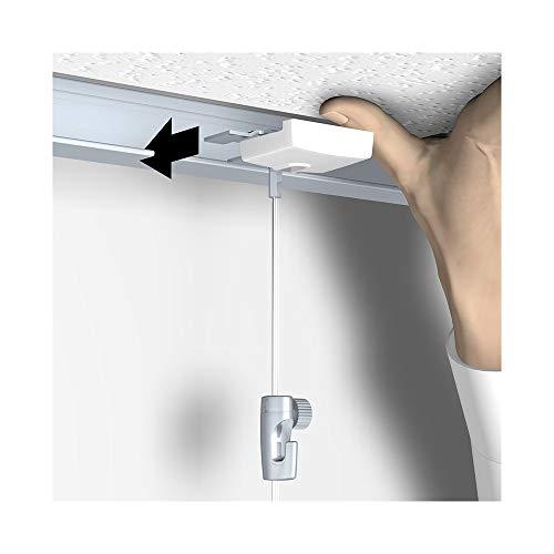 Bildaufhänger speziell für abgehängte Decken/Systemdecken, mit Perlonseil und Bilderhaken, Länge: 2 m