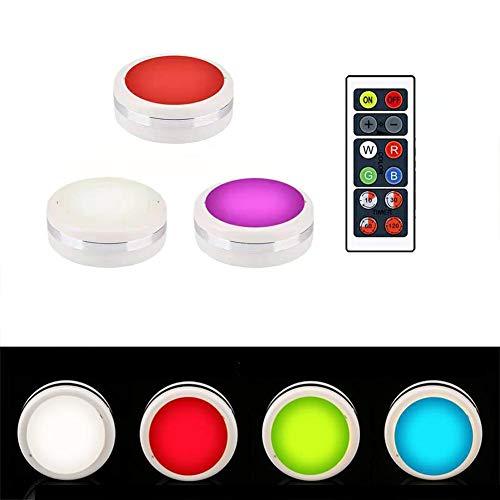 Urben Life 3-delige set LED-nachtlampjes met touch-sensor, dimbaar, op batterijen werkende lamp, kastverlichting, keukenlamp, geheugenfunctie, warmwit, RGB voor keuken, kledingkast, kofferbak, trap, ruimtes