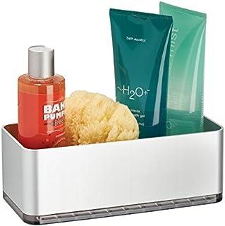 mDesign Cesta para ducha – práctica estantería de baño sin tornillos – Ideal organizador de baño en aluminio para sus artículos de ducha (champú, cuchillas, etc.)