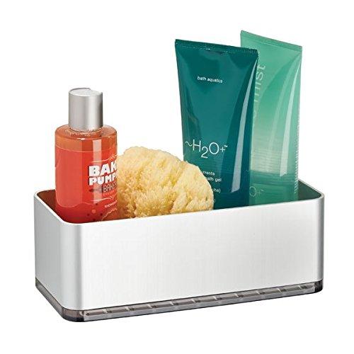 mDesign - Douchemand - planchet/doucherek -praktisch/zelfklevend/zonder boren - wandmodel/met handdoekenrek - voor alle douche-accessoires - aluminium - zilver/rookgrijs