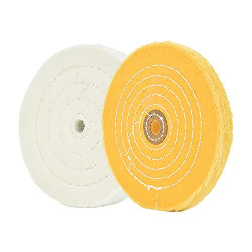 """Ruedas de pulido para amoladora de banco Ruedas de pulido de 6 """"Rueda de pulido blanca (60 capas) y amarilla (42 capas) para pulidora de tampón de banco con orificio de eje de 1/2"""" 2 piezas"""