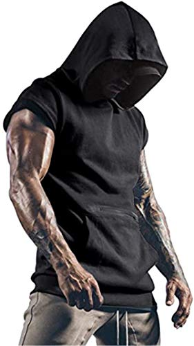 Cabeen Camiseta de Tirantes Deportiva Fitness Sudadera con Capucha Sin Mangas para Hombre Culturismo Gym Tank Topcon Bolsillos