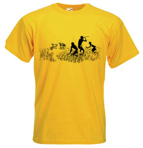 Banksy Herren T-Shirt Einkaufstrolley Hunters, gelb, 3XL