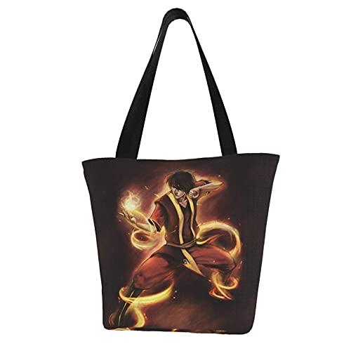 Jupsero Avatar Last Airbender Cartoon Women Tote Bag Bolsos de lona Casual Ladies Bolsos de hombro para bolso de compras