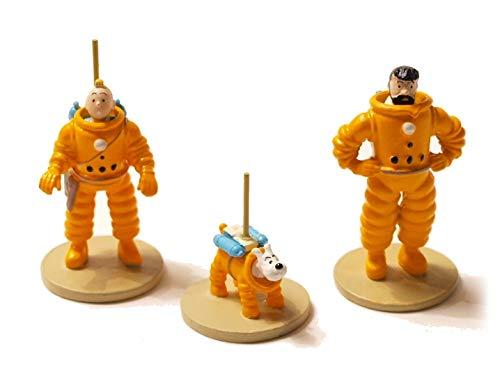 Caja de 3 Minifiguras. Tintin. Se está comprando en la Luna. Hergé. Moulinsart.