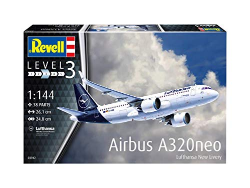 Revell 03942 Airbus A320 neo Lufthansa New Livery, Flugzeugmodellbausatz 1:144, 26,1 cm Other License Modelmaking, Unlackiert