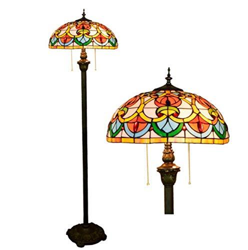 Yjmgrowing Tochange Tiffany Style slaapkamer-nachtkast-staande lamp, vintage glasverf decoratie staand licht voor woonkamer, 110 V-240 V (lamp niet inbegrepen)