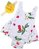 Baby Girl's Floral Ruffles Romper Summer Clothes,A23,0-6 Months(Size S)