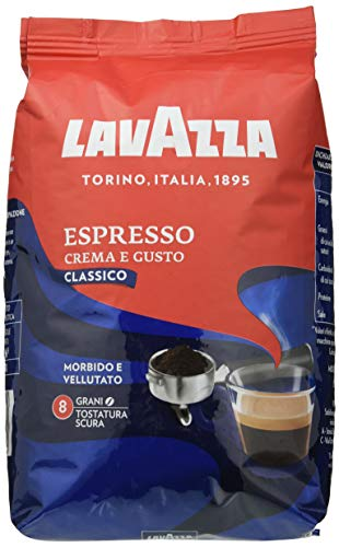 Lavazza Café en Grano Tostado Crema e Gusto, Café Espresso Arábica y Robusta, Paquete de 1 Kg