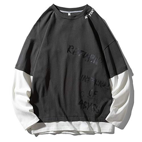 HOSD Long-Sleeved t-Shirt Men's Loose Large Size Hole t-Shirt Men's Autumn Round Neck Shirt Men