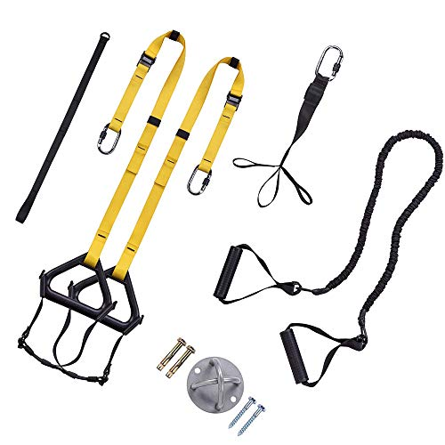 Bodyweight Resistance Straps Training Kit, Complete Home Gym Fitness Trainer Kit, Full Body Workout for Indoor or Outdoor Gym