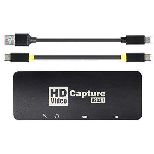 Tarjeta de captura de juegos HDMI, 1080P HDMI a USB 3.1 Tipo C Tarjeta de captura de vídeo en vivo con HDMI Loop Out Portable Live Broadcasts Grabber Converter para Windows Mac OS Linus