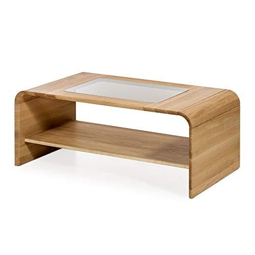 Marque Amazon - Alkove - Hayes - Table basse en bois massif avec plateau en verre et roulettes, Chêne sauvage