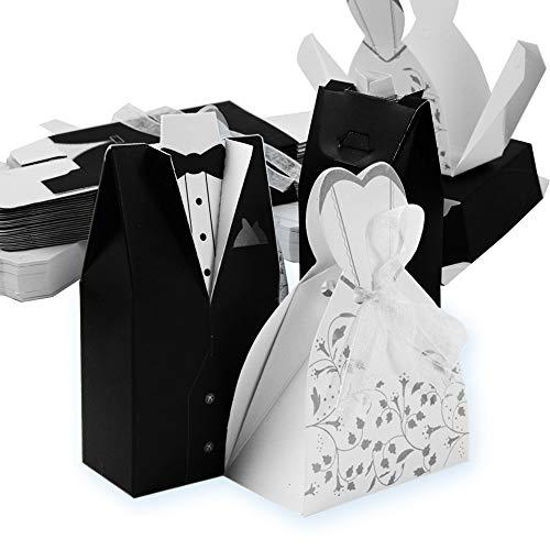Cajas De Dulces,Caja de Bombones Caramelos,Suministros de Boda Creativos de Alta Calidad,Decoración de Compromiso para la Boda(100 Piezas,50 Novios,50 Novias)