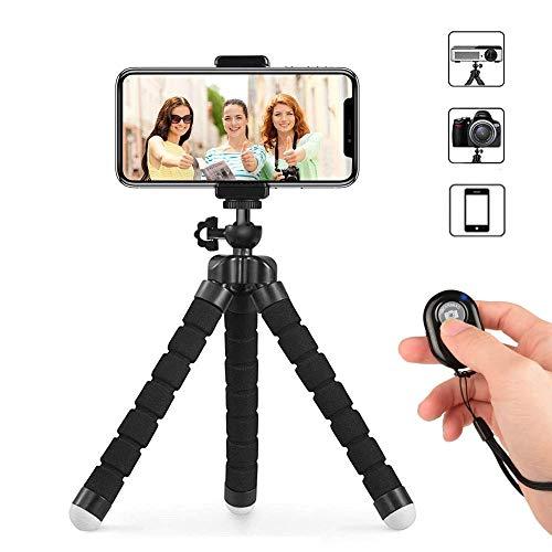 AXVARY Trípode Flexible + Soporte Universal+ Mando Bluetooth + Batería + Cuerda. Compatibilidad con Todo Tipo de móviles, Tablets, proyectores, cámaras y más.