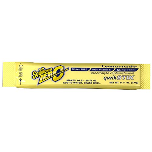 Sqwincher X428-M2600 Qwik Stik Instant Powder Concentrate Stick, Lemonade Electrolyte Drink, 11 Ounce, Pack of 50