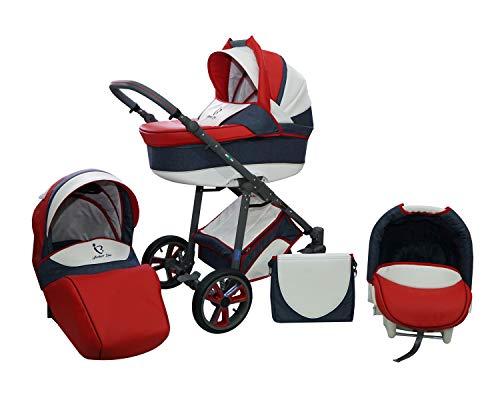 Skyline Kombi 3in1 Kinderwagen mit einem Aluminium Gestell, Babywanne, Sport Buggyaufsatz und Babyschale (ISOFIX) (White&Red)