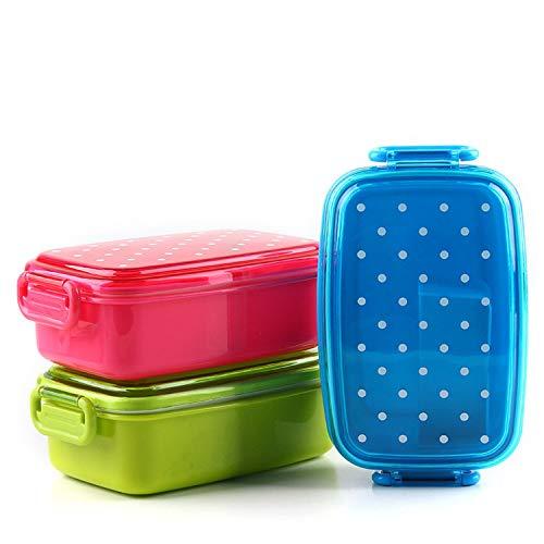Cajas de almuerzo portátiles para microondas, para niños, color caramelo, picnic, bento, contenedor de alimentos, almacenamiento, cocina, frutas, aperitivos, color azul