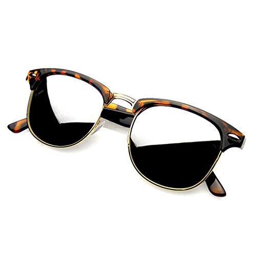 Emblem Eyewear - Premium Mezza Montatura Corno Cerchiati Rivetti Metallo Occhiali Da Sole (Tartaruga Argento)
