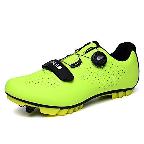 GET Zapatillas de Ciclismo de Carretera SPD con Cierre de trinquete, Zapatillas de Exterior con Suela de Fibra de Carbono Transpirable y Resistente al Desgaste (Color : B, Shoe Size : UK-6/EU40/US-7)