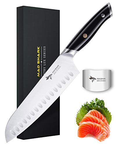 Santoku Knife - MAD SHARK Pro Kitchen Knife 8 Inch Santoku Knife, 7Cr17MoV German High Carbon Stainless Steel Knife with Ergonomic Handle, Ultra Sharp, Best Choice for Home Kitchen and Restaurant