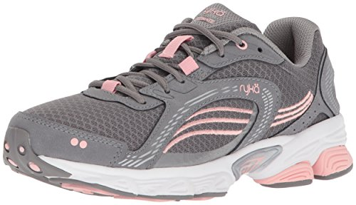 Ryka womens Ultimate Running Shoe, Frost Grey/English Rose/Chrome Silver, 10 Wide US