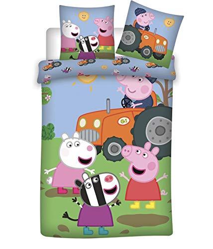 BrandMac Peppa Pig Wutz Traktor-Bettwäsche 135x200 80x80 Baumwolle Kinderbettwäsche Wendemotiv