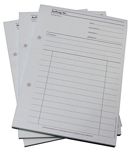 10x Auftragsblock Block Auftrag DIN A5, 2-fach selbstdurchschreibend, 2x50 Blatt weiß/grün - gelocht (22431)