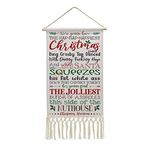 Wooden Poster Frame Hangs We'Re Gonna Have The HAP-HAP-Happiest Christmas Linen Art Prints Dorm Room Decor, Vintage Themed Home, Office, Apartment Poster Wall Decoration,10 X 14.9 In