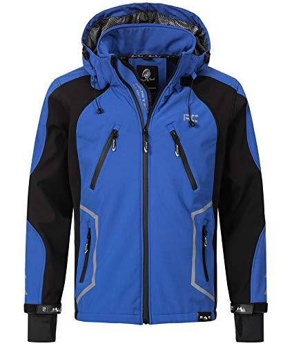 Rock Creek Herren Softshell Jacke Outdoor Jacke Windbreaker Übergangsjacke Anorak Kapuze Regenjacke Winterjacke Herrenjacke Jacket H-230 Blau 4XL