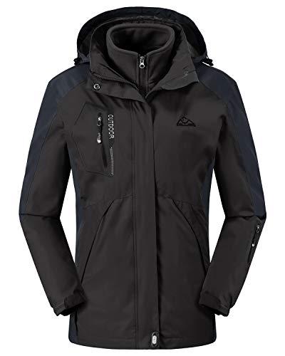Rdruko Women's Winter 3-in-1 Waterproof Shell Snowboarding Mountain Hiking Rain Jacket(Black,US M)