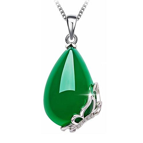 AIUIN 1Pcs Collar de Mujer Colgante de Mariposas Plateado Collars de Jade Verde Regalo para Mujer...