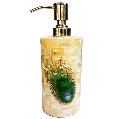 Purpledip Mother of Pearl Liquid Soap Dispenser: Peacock Design Premium Bathroom Kitchen Accessory (11473)
