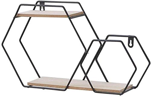 YLCJ drijvende wandplank Esagono wandplank vintage ijzer kunst hout massief hout robuust robuust (zwart) Zwart