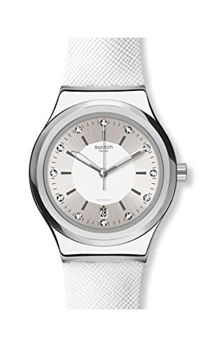 Swatch Damen Analog Automatik Uhr mit Leder Armband YIS422