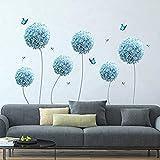 Yyhmkb calcomanías de pared de diente de león azul Allium flor mariposa pegatinas de pared sala de estar dormitorio TV decoración de la pared